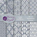Gray Damask Digital Paper, Gray Scrapbooking Digital Paper, No. 42 Tradewinds