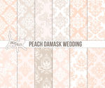 Peach wedding digital paper Beige wedding paper Printable wedding scrapbook Peach damask Damask wedding Commercial use