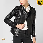 Womens Cropped Leather Jacket CW650022 Cwmalls
