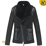 CWMALLS® Women Black Shearling Lined Jacket CW640102