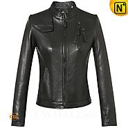 CWMALLS® Women's Black Leather Jacket CW607011