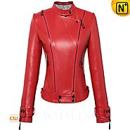 CWMALLS® Women's Cropped Leather Jacket CW607012