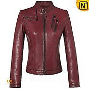 CWMALLS® Women's Wine Leather Moto Jacket CW607010