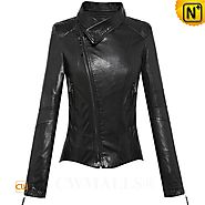 CWMALLS® Women's Cropped Leather Moto Jacket CW650036