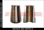 Concrete pole wedges and barrels