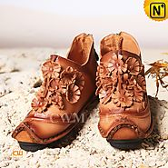 Tan Handmade Flat Shoes CW350151 - cwmalls.com