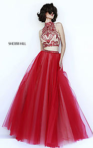 2015 Two-Piece Red Sherri Hill 11211 High-Neck Bodice Long Sheer Prom Dresses