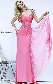 2015 Sherri Hill 11172 Chiffon Coral Sweetheart-Neck Ruched Long Prom Dresses