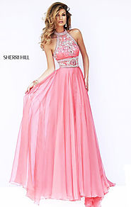 Sherri Hill 11228 Strapless Halter-Neck 2015 Coral Beaded Long Bodice Evening Gown