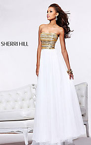 Ivory/Gold Beaded Strapless Chiffon 2015 Sherri Hill 1539 Long A-Line Prom Dresses [Sherri Hill 1539 Ivory/Gold] - $1...