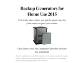 Backup Generators for Home Use 2015