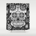 sugar skull Shower Curtain by Ancello