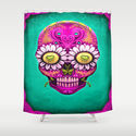 Sugar Skull Shower Curtain by Mr Grin
