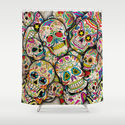 Sugar Skull Collage Shower Curtain by Spooky Dooky