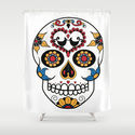 Mexican Sugar Skull Shower Curtain by Gwladys R.
