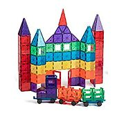 Playmags 100-Piece Clear Colors Magnetic Tiles Deluxe Building Set - Age 3 and up