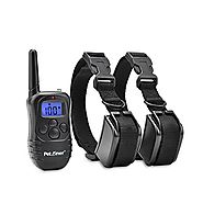 Petrainer 330 Yards Remote 4 in 1 LCD Rechargeable and Waterproof Pet Dog Training Collar with 100lvs Shock and Vibra...