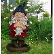 "15"" Tall Smiling Garden Gnome Statue"
