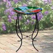 "28"" Tall Dragonfly and Flowers Glass Birdbath with Stand"