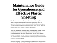 Maintenance Guide for Greenhouse and Effective Plastic Sheeting