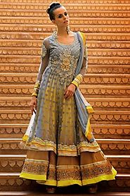 Adorable Gray & Yellow Salwar Kameez