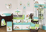 Turquoise and Lime Hooty Owl Unisex Baby Boy or Girl Bedding 9 pc Crib Set