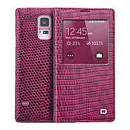 Qialino Crocodile Pattern Rose Pink Leather Case For Samsung Galaxy S5