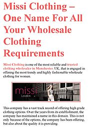 Missi Clothing – One Name For All Your Wholesale Clothing Requirements