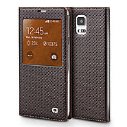 QIALINO Grid Pattern Leather Case For Samsung Galaxy Note 4 N9100 - Qialino