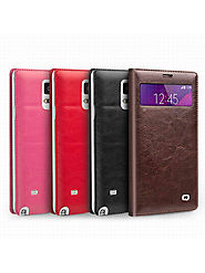 QIALINO Mini Window Classic Pattern Leather Case For Samsung Galaxy Note 4 Without Smart Feature - Qialino