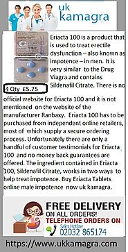 Eriacta Tablets treat erectile dysfunction – also known as impotence