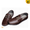 Brown Leather Driving Shoes CW713191 - cwmalls.com
