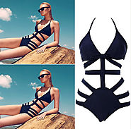 Brand Victoria Swimwear For Women,High Waist Swimsuit Bikinis,Sexy Monokini Bathing Suit, Womens Bandage Swimsuit Bla...