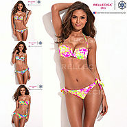 B224 Full Lined Floral Blooming Pattern Bikini Set with Removable Padding Swimsuit Biquini Women Swimwears Bathing Su...