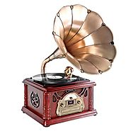 Pyle-Home PTCDS3UIP Classical Trumpet Horn Turntable with AM/FM Radio CD/Cassette/USB & Direct to USB Recording