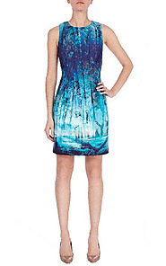 2014 Cotton Round-Neck Print Coast Macie BCBG Party Draped Dress [2014 BCBG Short 0101 Blue] - $180.00 : BCBG Dresses...