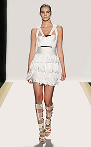 2014 Herve Leger White Halter-Neck Bodice Camila Short Bandage Dress