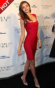 2014 Herve Leger Red Cap Sleeves Miranda Kerr Bandage Square-Neck Dress