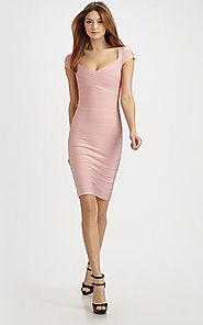 2014 Bandage V-Neck Herve Leger Cutout Pink Cap-Sleeves Dress
