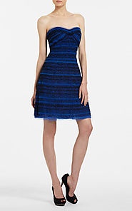 2014 Valentine BCBG Sweetheart-Neck Blue A-Line Bodice Tulle Dress