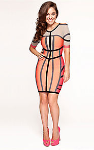 2014 Mid Sleeve Round-Neck Color-Blocked Bandage Herve Leger Coral Dress [2014 HL 0014 Coral] - $168.00 : BCBG Dresse...