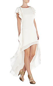 Cheap Yuliana Silk White Round-Neck BCBG Runway High-Low Chiffon Dress