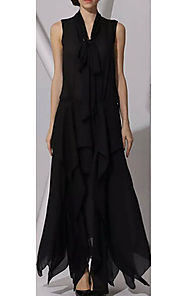2015 Layered Runway V-Neck BCBG Black Long Chiffon Silk Prom Dress [2015 BCBG 0012 Black] - $183.00 : BCBG Dresses On...