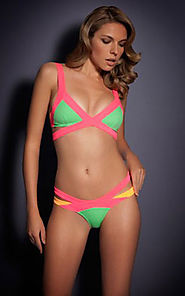 Cheap Mazzy Color-Blocked Triangle Bikini Swimwear Herve Leger Green [Cheap HL Swimsuit 0043 Green] - $98.00 : BCBG D...
