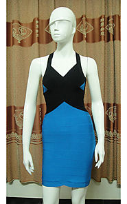 2014 Herve Leger Two-Tone Blue/Black V-Neck Cross Straps Bandage Dress [2014 HL 0063 Blue] - $163.00 : BCBG Dresses O...
