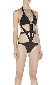 2014 V-Neck Herve Leger Black Sagan Hardware Detail One-Piece Swimsuit