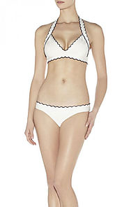 Cheap Black Scalloped Edge Halter-Neck Milou Tipped Herve Leger Swimwear [Cheap HL Swimsuit 0021 White] - $98.00 : BC...