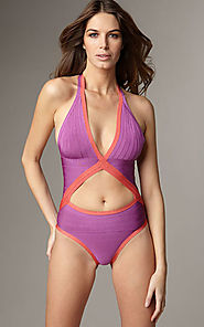 Cheap V-Neck Cutout Herve Leger Bright Violet Combo Bandage Swimsuit
