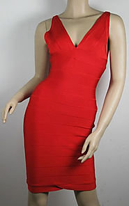 Cheap V-Neck Herve Leger Red Sleeveless Lauren Bandage Dress [2014 HL 0062 Red] - $162.00 : BCBG Dresses Online Sale,...