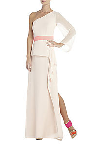 2014 One-Shoulder BCBG Pink Runway Madina Draped Long Evening Dress [2014 BCBG Long 0024 Pink] - $172.00 : BCBG Dress...